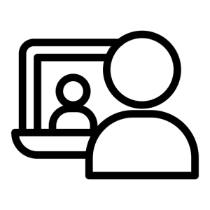 Icon of someone talking over a computer
